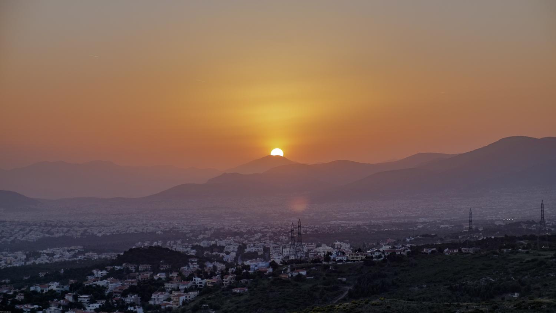 Athens sunset landscape